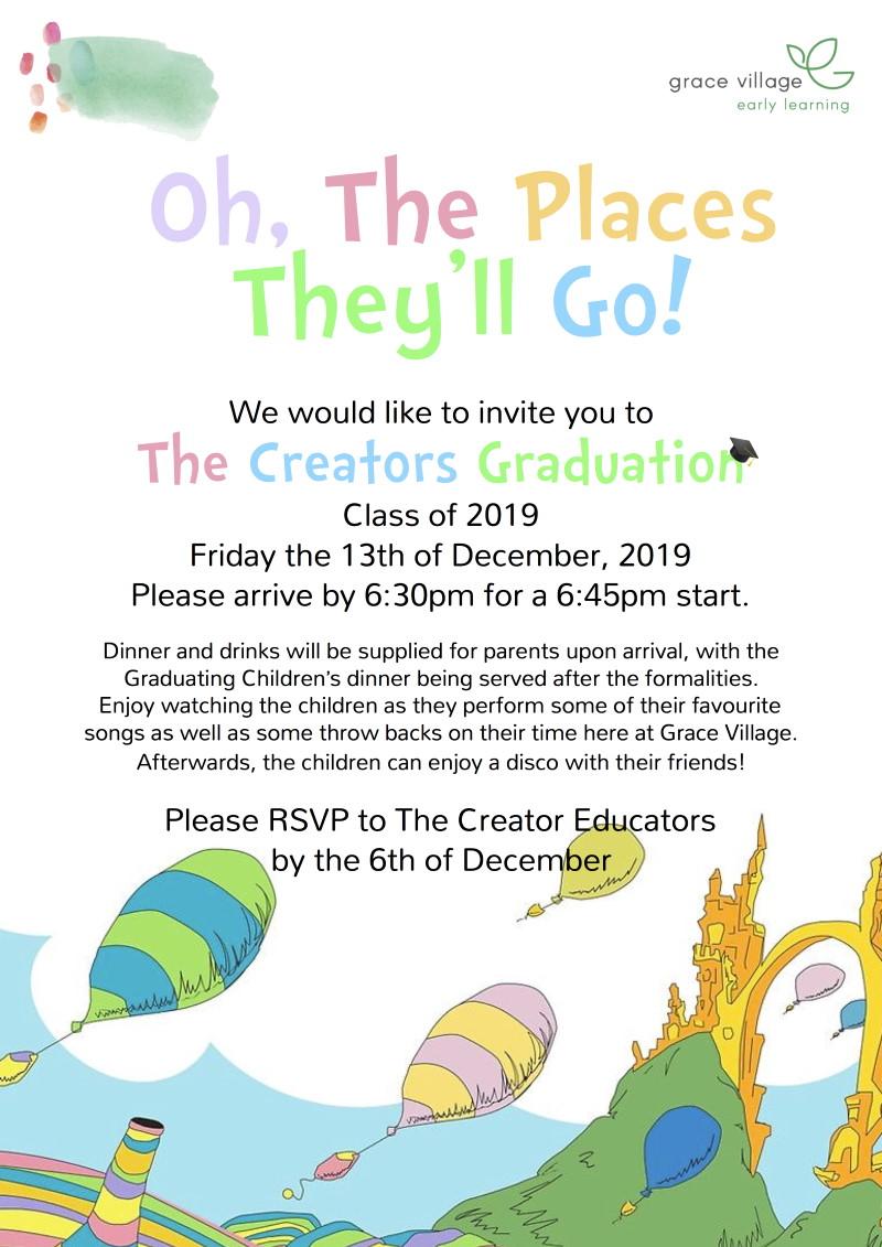 Grace Village ELC Graduation Night Parent Invite Flyer