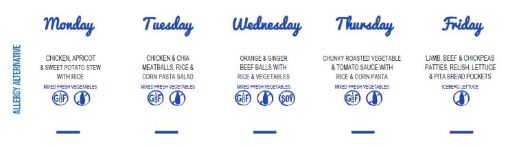 A sample allergy free childcare menu at Grace Village ELC