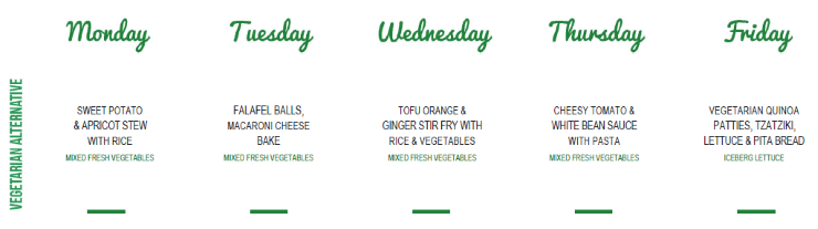 A sample vegetarian childcare menu at Grace Village ELC
