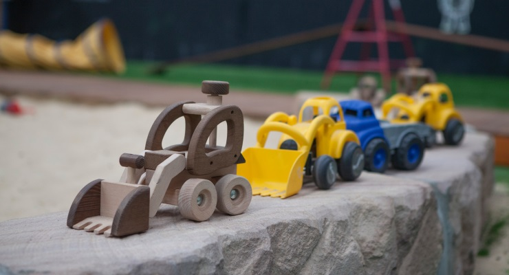 A collection of preschoolers toys at a child care centre