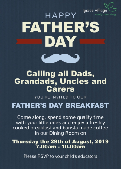 Poster for Grace Village ELC Fathers Day Breakfast 2019