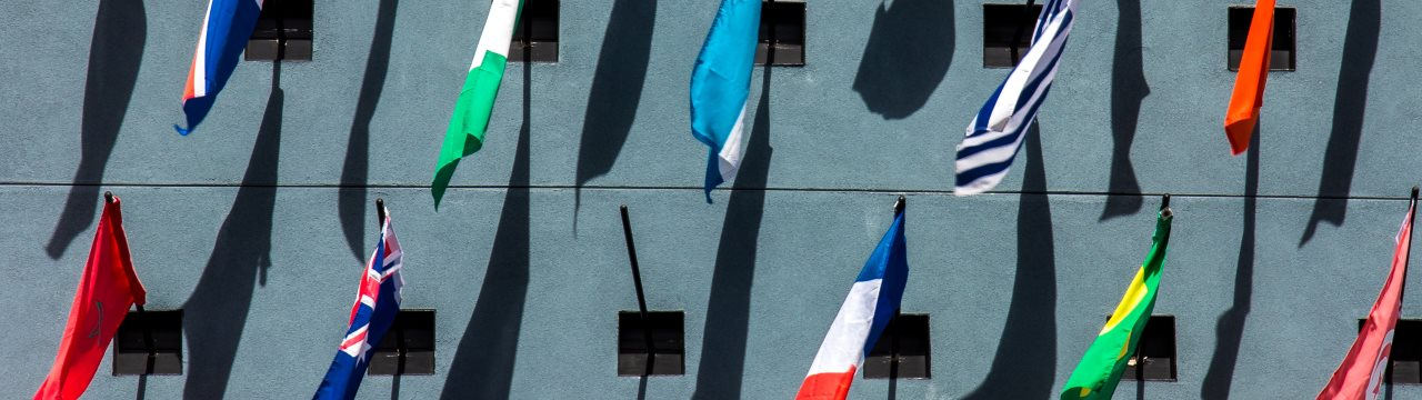 Collection of national flags on display on a wall
