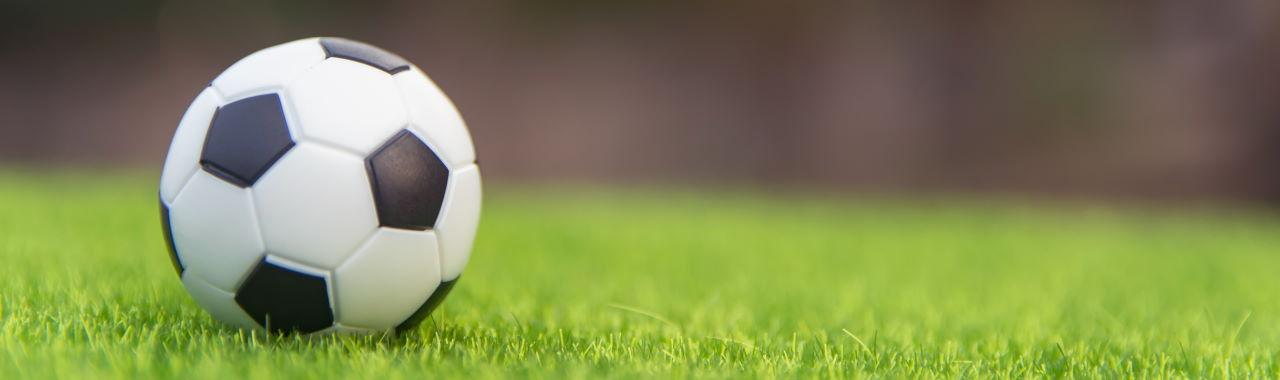 A football sitting on grass