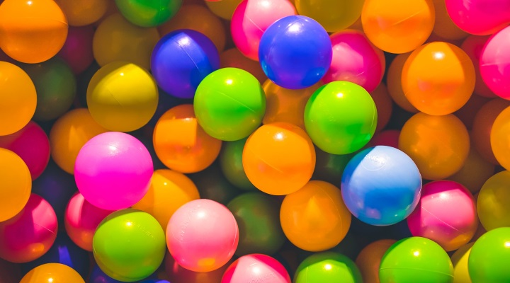 A collection of brightly coloured plastic balls